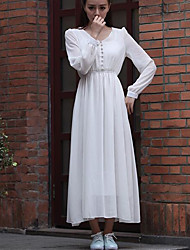 The new double-layer chiffon long-sleeved V-neck fashion Slim Long dress put on a large female Specials Sign