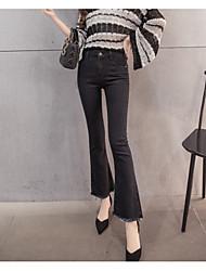 2017 знак девять микро колонки талии широких брюк ноги тонкие кисточки эластичные джинсы женщина была тонкой девять очков