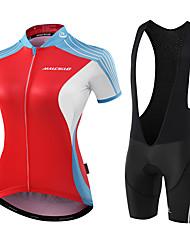 Maillot et Cuissard à Bretelles de Cyclisme Femme Manches Courtes Vélo Collant à Bretelles/Corsaire Bretelles Maillot Vêtements de