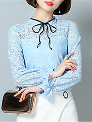 Fashion Wild Speaker Sleeves Solid Color Lace Hook Flower Bottoming Shirt Daily Leisure Dating Home Family Gathering Party Shirt
