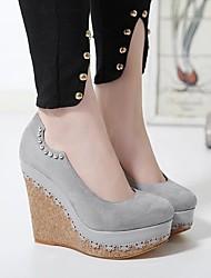 Damen-High Heels-Lässig-Wildleder-Keilabsatz-Komfort-Schwarz Grau