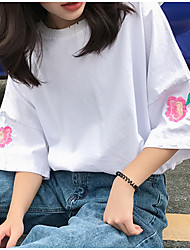 Really making 2017 spring new solid color embroidered flowers loose short-sleeved T-shirt