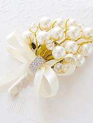 Wedding Flowers Free-form Lilies Boutonnieres Wedding Party/ Evening Gold Satin Bead