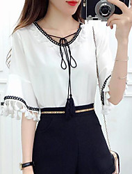 Women's Casual/Daily Sexy Spring Summer Blouse,Solid Round Neck ½ Length Sleeve Polyester Medium