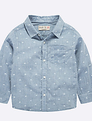 Casual/Daily Solid Shirt,Cotton Spring Fall Long Sleeve