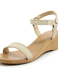 Women's Sandals Summer Fall Slingback Cowhide Office & Career Party & Evening Dress Wedge Heel Magic Tape