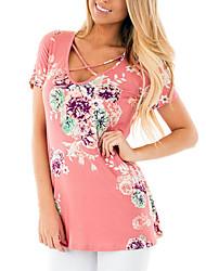 Tee-shirt Femme,Fleur Plage Vacances simple Eté Manches Courtes Col en V Polyester Spandex Moyen