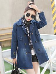 2017 spring new Korean Slim College Wind long-sleeved denim jacket female casual long denim
