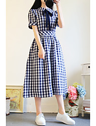 2017 new college wind bow waist plaid short-sleeved dress was wild long paragraph dress