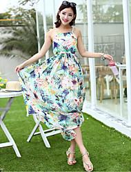 Ample Robe Femme Sortie simple,Couleur Pleine Col Arrondi Maxi Sans Manches Soie Printemps Eté Taille Haute Non Elastique Fin