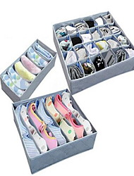3pcs Storage Boxes Storage Units Non-woven withFeature is Open  For Underwear