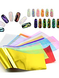 5 Sheets/Set 3D Holographic Broken Glass Foils Finger Nail Art Mirror Stickers for Nails Glitter Stencil Decal DIY Manicure