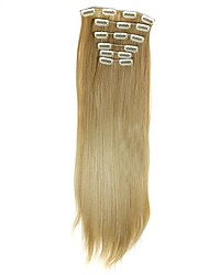 Synthetic Hair 58cm 130g with Clips 16 Clip in Hair Extensions False Hair Hairpieces Synthetic 23inch Long Straight Apply HairpieceD1014 27/613#