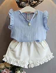 Girls' Casual/Daily Patchwork Sets,Polyester Summer Sleeveless Clothing Set