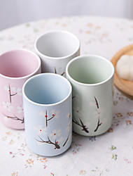 Japanese Sakura Blossom Hand-Printed High Temperature Porcelain Beverage Cups set with Four Different Colors