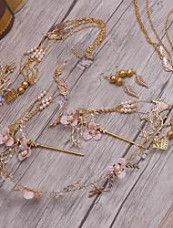Diamantes Sintéticos Aleación Perla Artificial Celada-Boda Ocasión especial Tiaras Bandas de cabeza Pasador de Pelo 5 Piezas