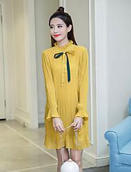 знак 2017 весной новый корейский вариант был тонкий моды свободный лук воротник с длинными рукавами шифона платье