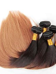 4lot / шт 12-26 дюймов Ombre бразильский девственные волосы прямые цвета 1b / 27 прямые волосы сотка