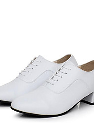 Men's Dance Shoes Leather Modern Heels Low Heel Outdoor / Performance White