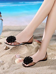 Xia Jiping bottom sandals female sweet big flower sandals transparent crystal jelly fish mouth shoes slip sandals women