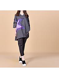 Damen Geometrisch Einfach Ausgehen Lässig/Alltäglich T-shirt,Mit Kapuze Frühling Sommer Kurzarm Baumwolle Mittel