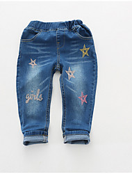 Girls' Casual/Daily Geometric Jeans-Cotton Spring