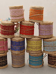 2M Width (4 cm) Natural Jute Burlap Hessian Ribbon with Lace Trims Tape Rustic Wedding Decor Wedding Cake Topper