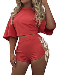 Women's Casual/Daily Sports Simple Active Lace Up Bow Loose Bare Midriff Summer Fall T-shirt Pant SuitsSolid Round Neck Short Sleeve Micro-elastic