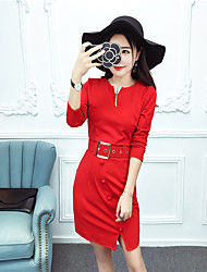 Sign under aristocratic temperament small V-neck long-sleeved dress with belt styled panties