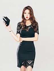 2017 nuevas señoras delgadas delgados coreanos femeninos salvajes faldas vestido de encaje irregular
