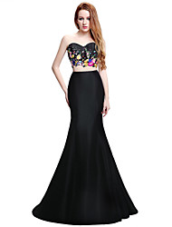 Formal Evening Dress Trumpet / Mermaid Sweetheart Sweep / Brush Train Jersey with Beading Embroidery