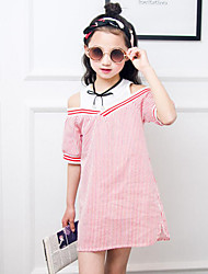 Girl's Casual/Daily Beach Holiday Striped Dress,Cotton Summer Sleeveless