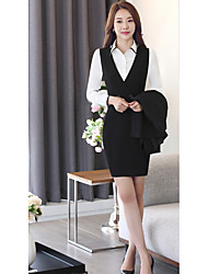 Women's Work Club Sexy Shirt Dress,Solid V Neck Above Knee Long Sleeve Polyester Summer Mid Rise Inelastic Medium