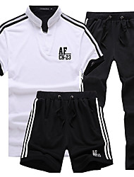 Men's Tracksuit Short Sleeves Soft Comfortable Tracksuit Shorts Clothing Suits Bottoms for Exercise & Fitness Running Cotton Slim Black