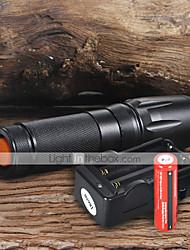 Flashlight Kits LED 2200 Lumens 5 Mode Cree XM-L T6 18650 Adjustable Focus Camping/Hiking/Caving Everyday Use Working