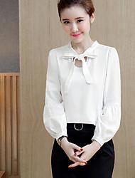 Signer des femmes&# 39; s 2017 printemps nouveau ventilateur coréen couleur pure avec un chemisier en mousseline de soie femelle