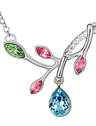 Women's Pendant Necklaces Crystal Leaf Chrome Fashion Personalized Jewelry For Anniversary Congratulations Gift 1pc