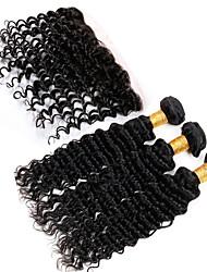 Visteen Hair Brazilian Deep Wave Hair 3 Bundles With Free Part Closure Natural Color Brazilian Hair Weave Bundles With Closure 13X4 Full Lace Frontal