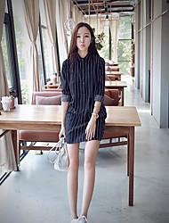 Feminino Camiseta Vestido,Casual Listrado Colarinho Chinês Mini Manga Longa Outros Primavera Verão Cintura Média Micro-Elástica Fina