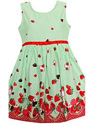 Girls Dress Dot Strawberry Print Belt Dresses Party Birthday Princess Children Clothes