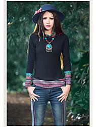 2016 nouveau style ethnique de style ethnique, col en col en peluche, chemise, bas, chemise, t-shirt