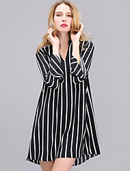 Women's Casual/Daily Simple Loose Dress,Striped V Neck Above Knee Long Sleeve Rayon All Seasons High Rise Inelastic Thin