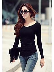 Damen Solide Einfach Lässig/Alltäglich T-shirt,V-Ausschnitt Frühling Herbst Langarm Baumwolle Mittel