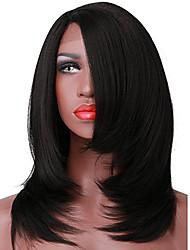 yaki perruques front partie synthétique bob droites de style court l dentelle chaleur de couleur noire perruque de fibres résistant aux