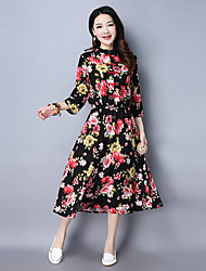 Signer 2017 printemps nouveau vent national rétro big yards coton robe floral dressée a grandi