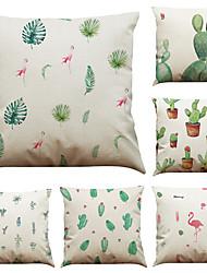 Set of 6 Tropical Plant Cactus  Pattern  Linen Pillowcase Sofa Home Decor Cushion Cover  Throw Pillow Case (18*18inch)