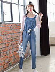 Sign institute wind spring new denim overalls trousers Korean version of the elastic waist drawstring jeans