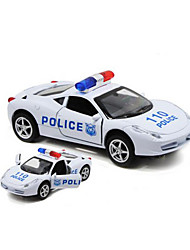Police car Pull Back Vehicles 1:32 Plastic Red White