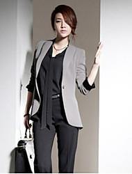 Blazer Femme,Couleur Pleine Travail simple Printemps Manche Longues Col en V Long Polyester