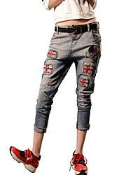 Spring new high stretch jeans female skull embroidery worn to do the old flag female long pants big yards